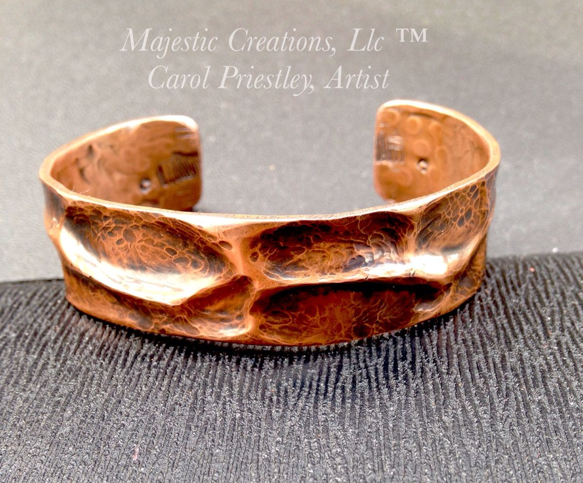"""100% Copper Air Chased Cuff Made From 1/2"""" Copper Tubing"""