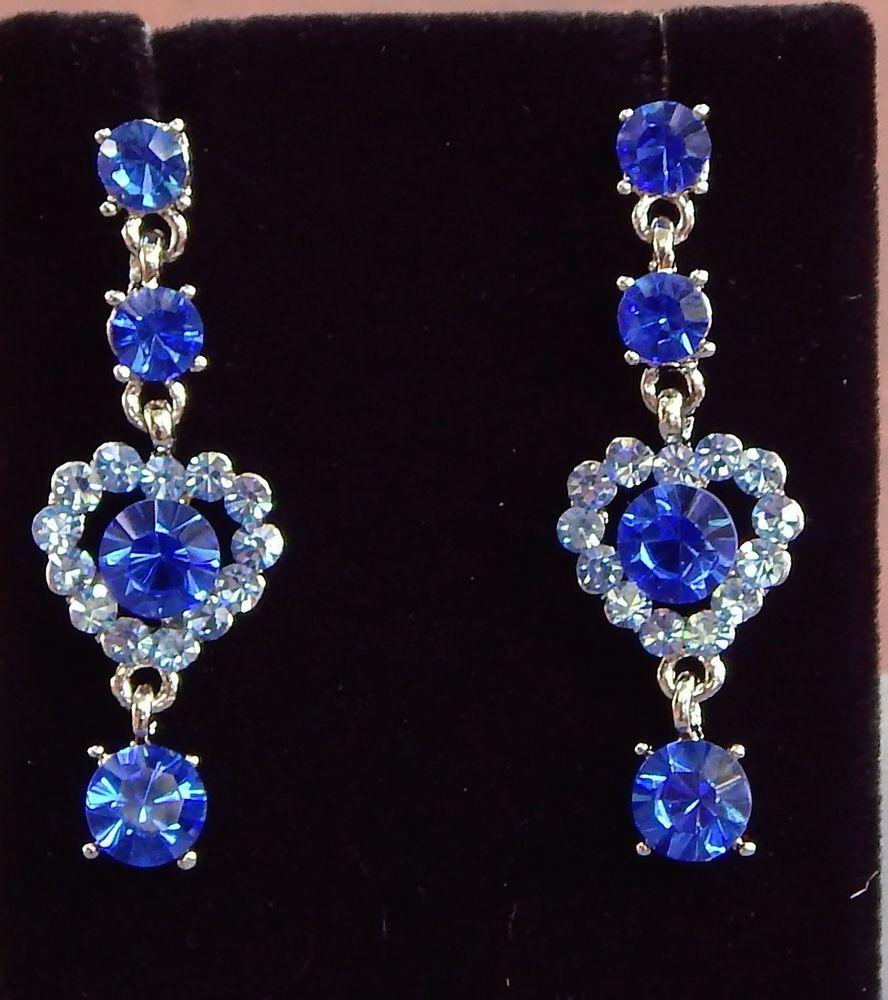 Blue austrian crystal chandelier dangle drop heart earrings bridal screw back pierced chandelier fashion earrings arubaitofo Choice Image