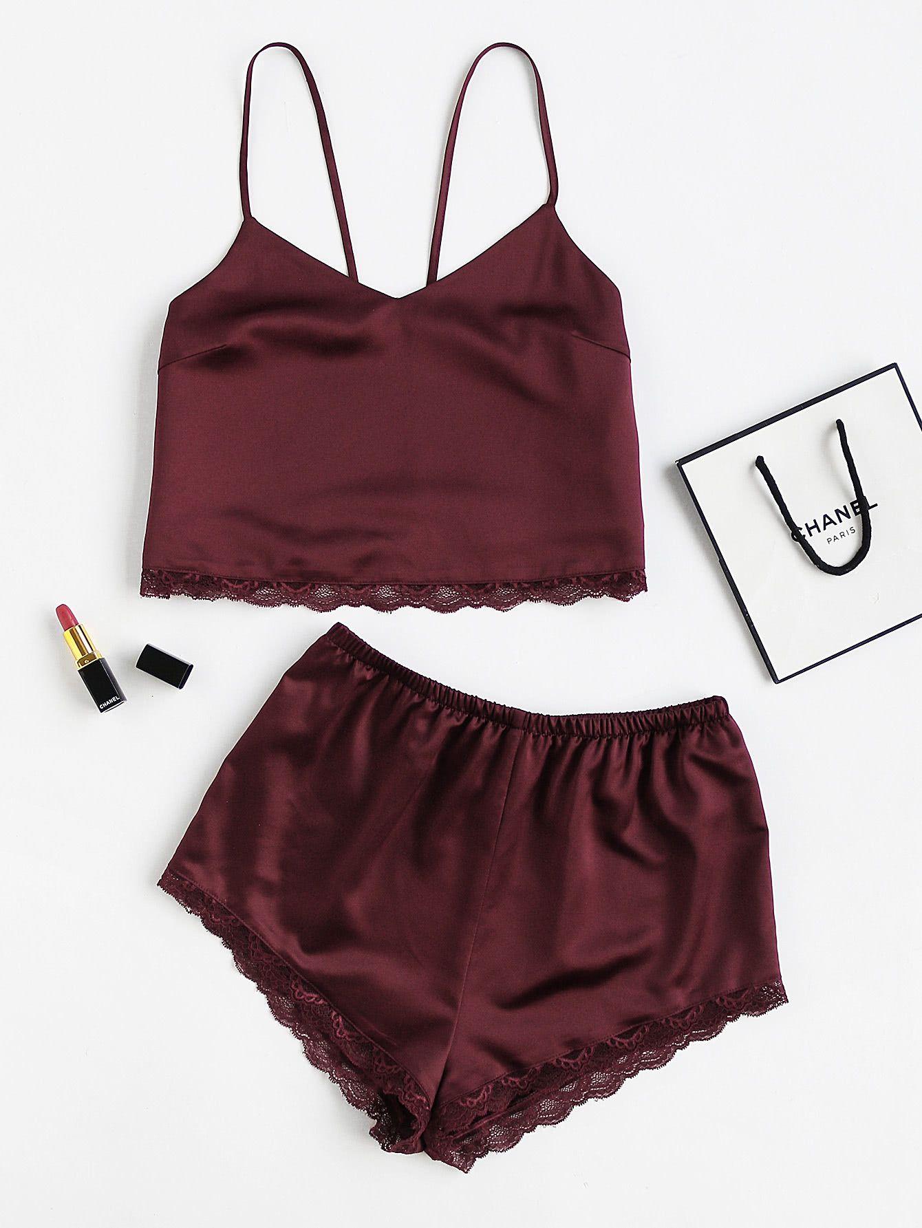 5b70e1ef115a Lace Trim Satin Cami And Shorts Pajama SetFor Women-romwe