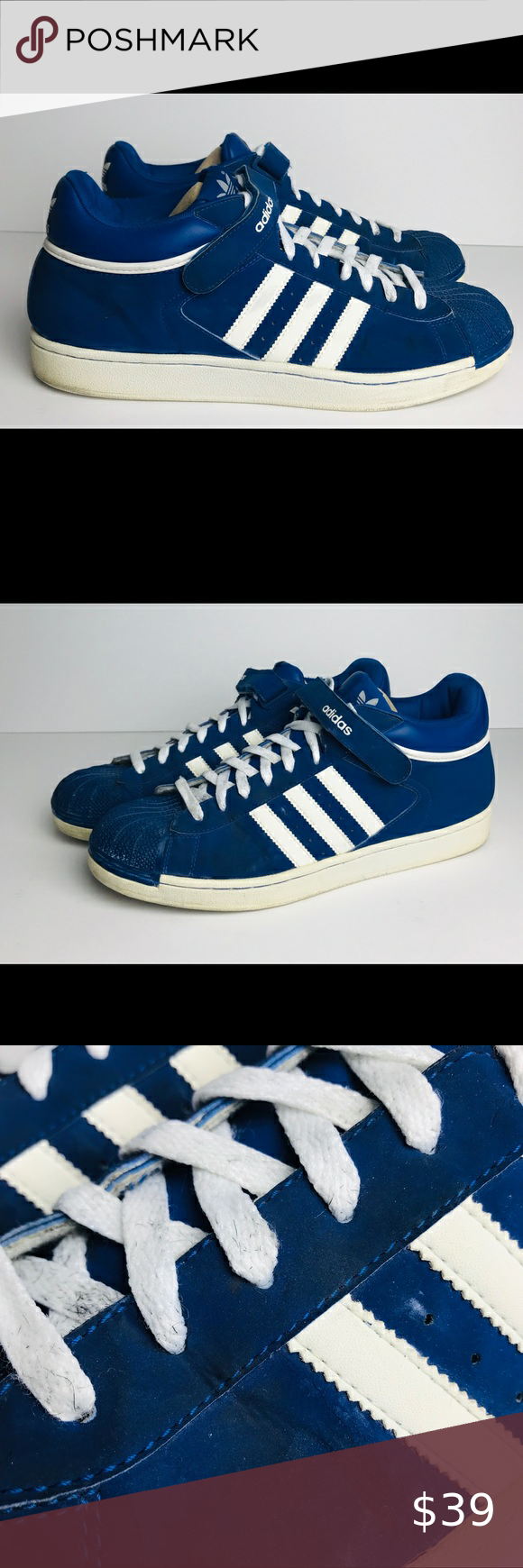 Adidas Blue And White Shoes Men's Size 13 G07654 | White shoes men ...