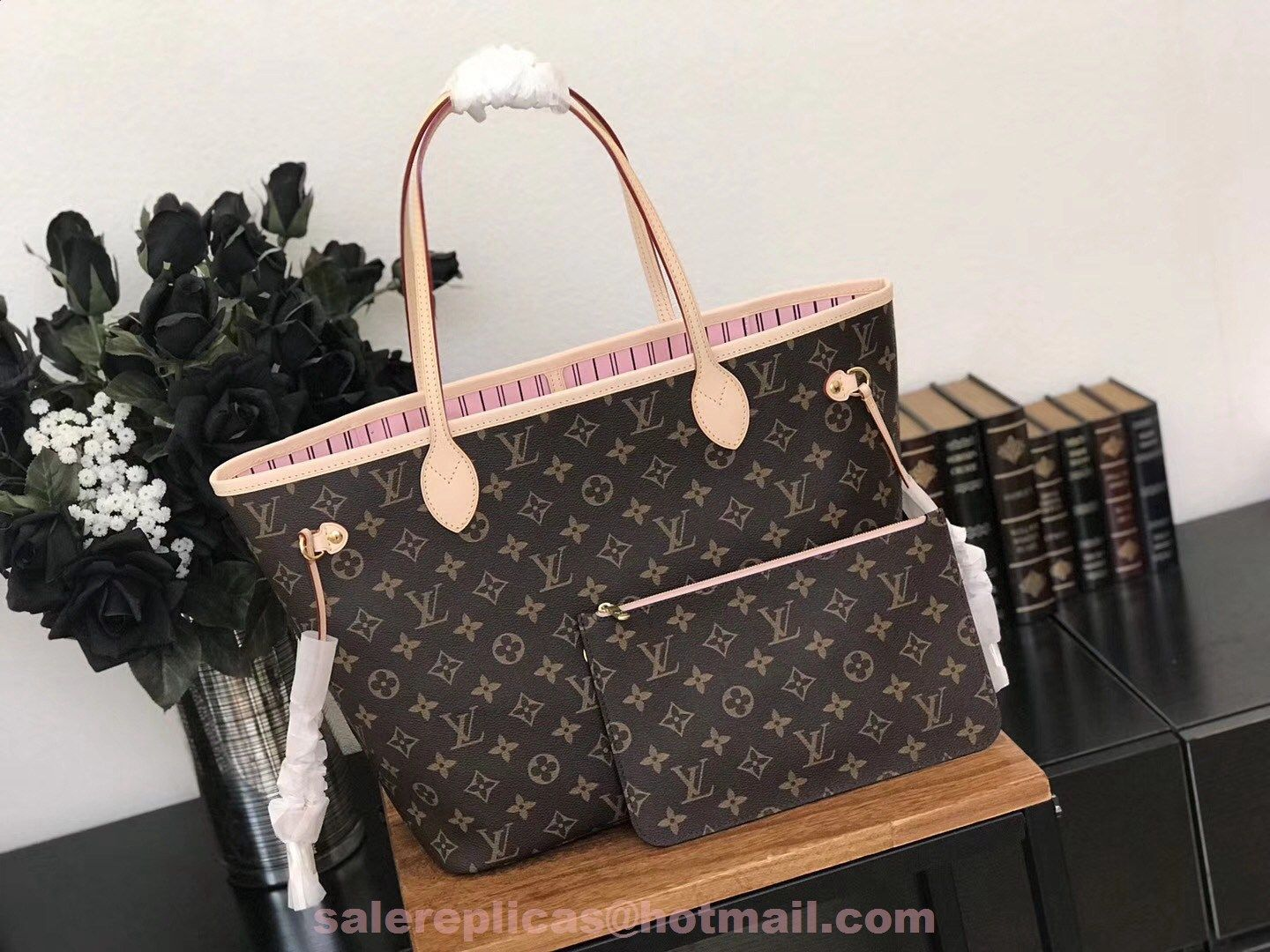 021cdb73e350 replica Louis Vuitton Neverfull MM Monogram Canvas Handbag M41178-Pivoine