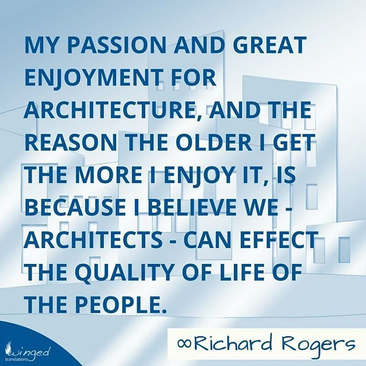 Born in Florence, Italy, Richard Rogers is a Bristish architect. He is best known for designing the Centre Pompidou in Paris, the headquarters for Lloyd's of London, the European Court of Human Rights in Strasbourg and the Millennium Dome in London ➡➡➡ http://buff.ly/2kolpTk ⠀ ~⠀ ~⠀ ~⠀ More quotes at: http://buff.ly/2kof7mU⠀ | architecture design architects building construction quote inspiration archiquote arquitectura architettura