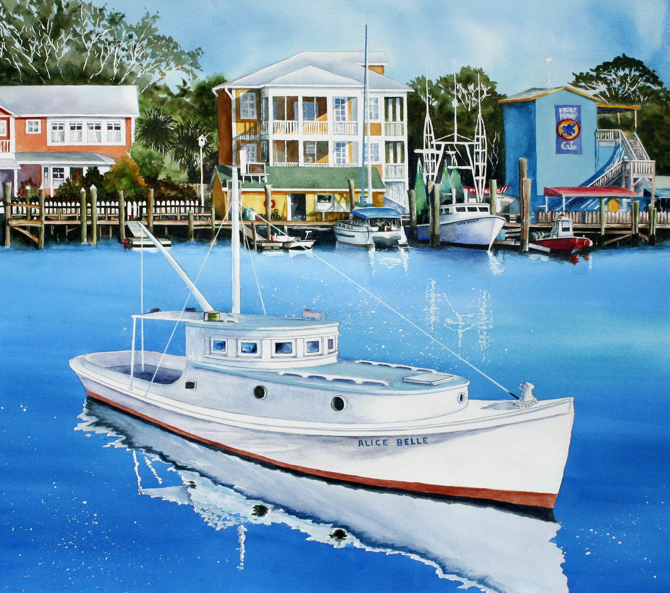 This watercolor painting by Larry Schafer is of the Alice Belle, an antique shrimp and fishing boat which worked out of the Yacht Basin in Southport, NC. See larryschaferart.blogsdpot.com.