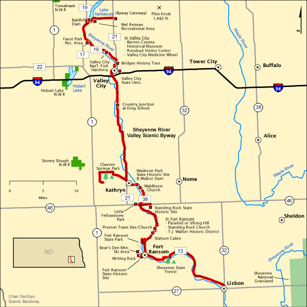 Sheyenne River Valley Scenic Byway Map Americas Byways