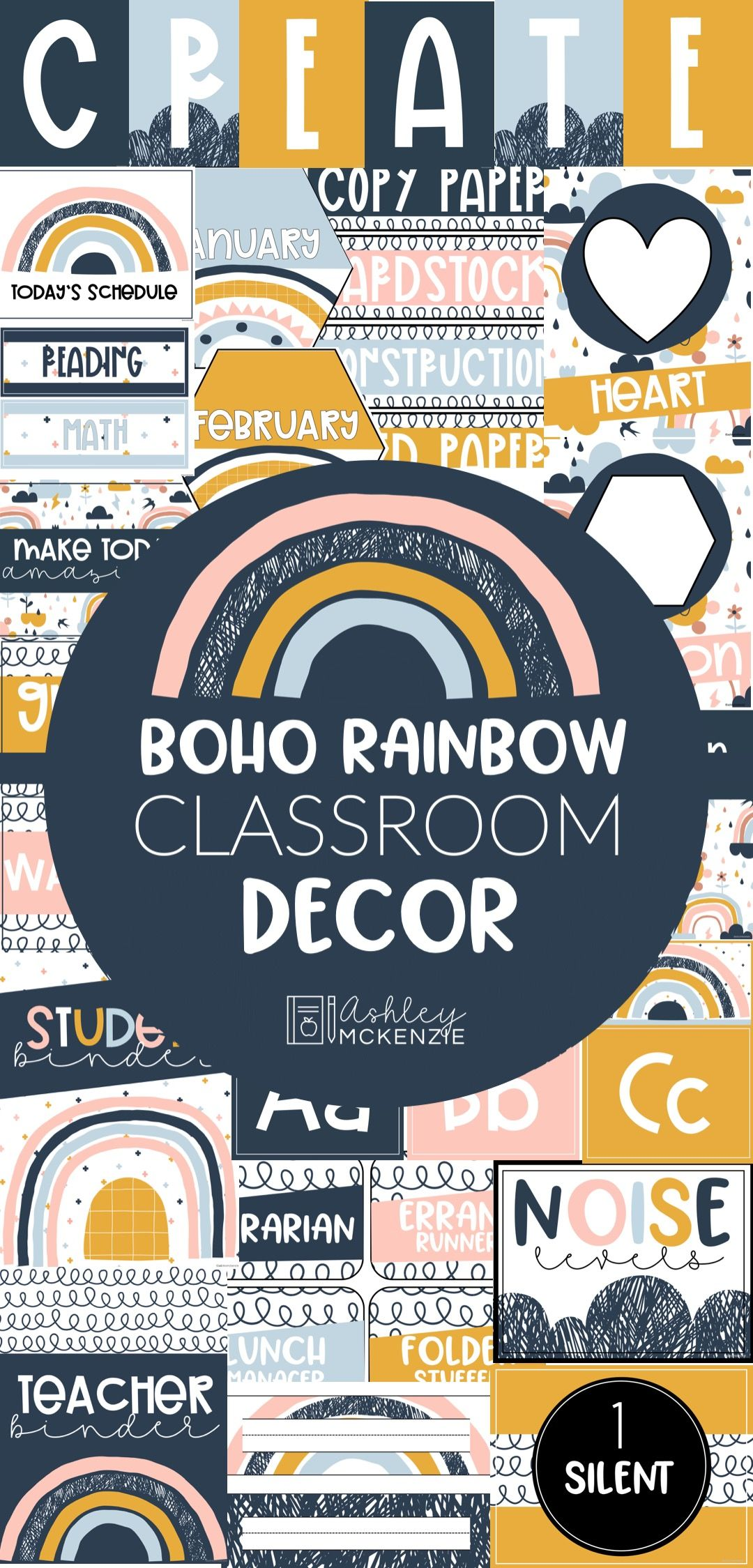 Boho Rainbow Classroom Decorations