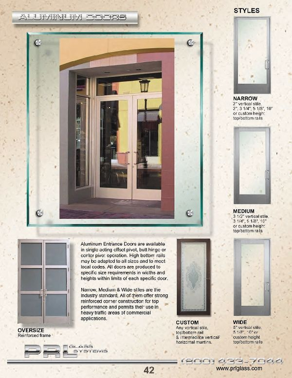 Standard Aluminum Entrance Doors Prl S Are Designed For Commercial And Residential Offering Many Options Such As Stile