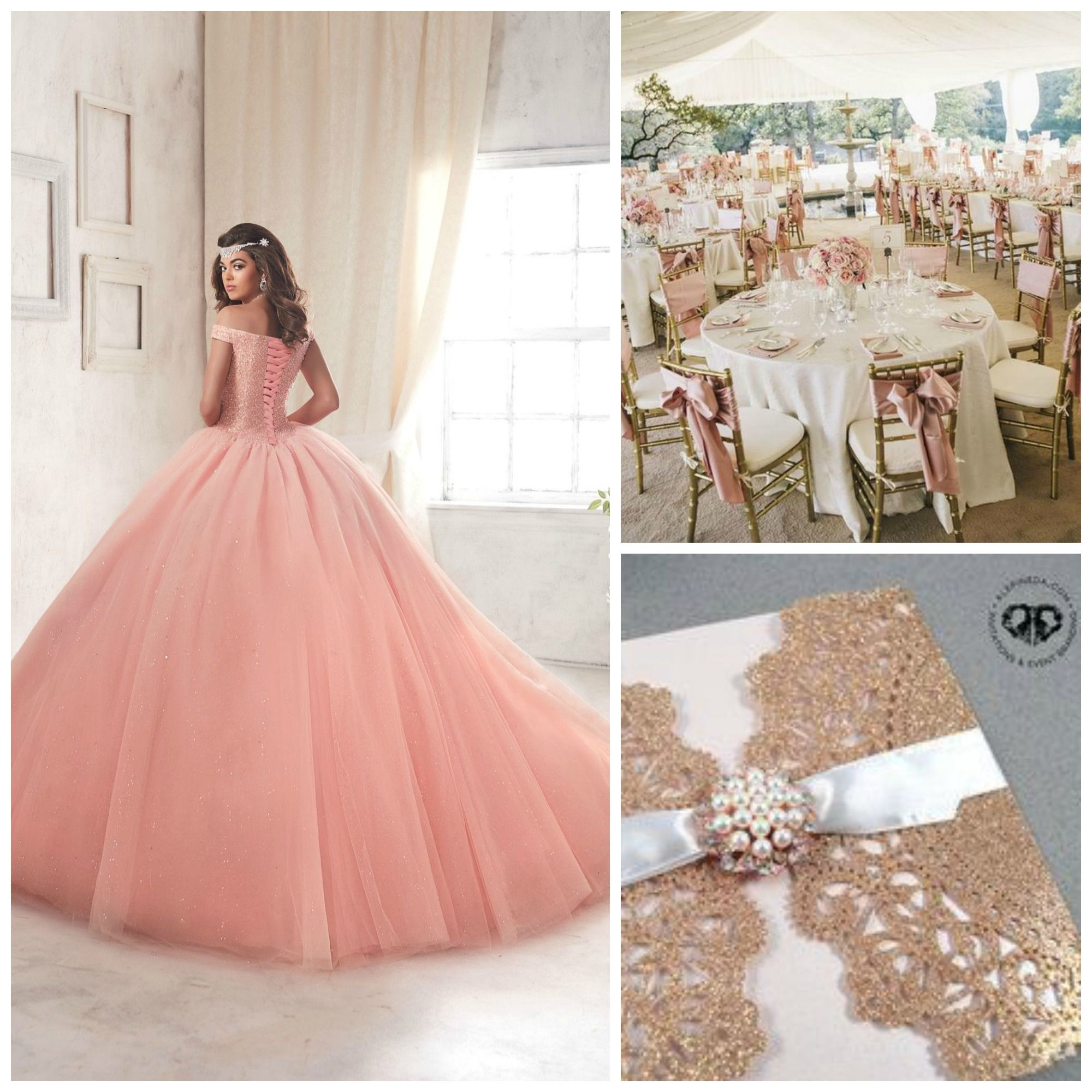 Pink and gold quinceanera decorations for Quinceanera decorations