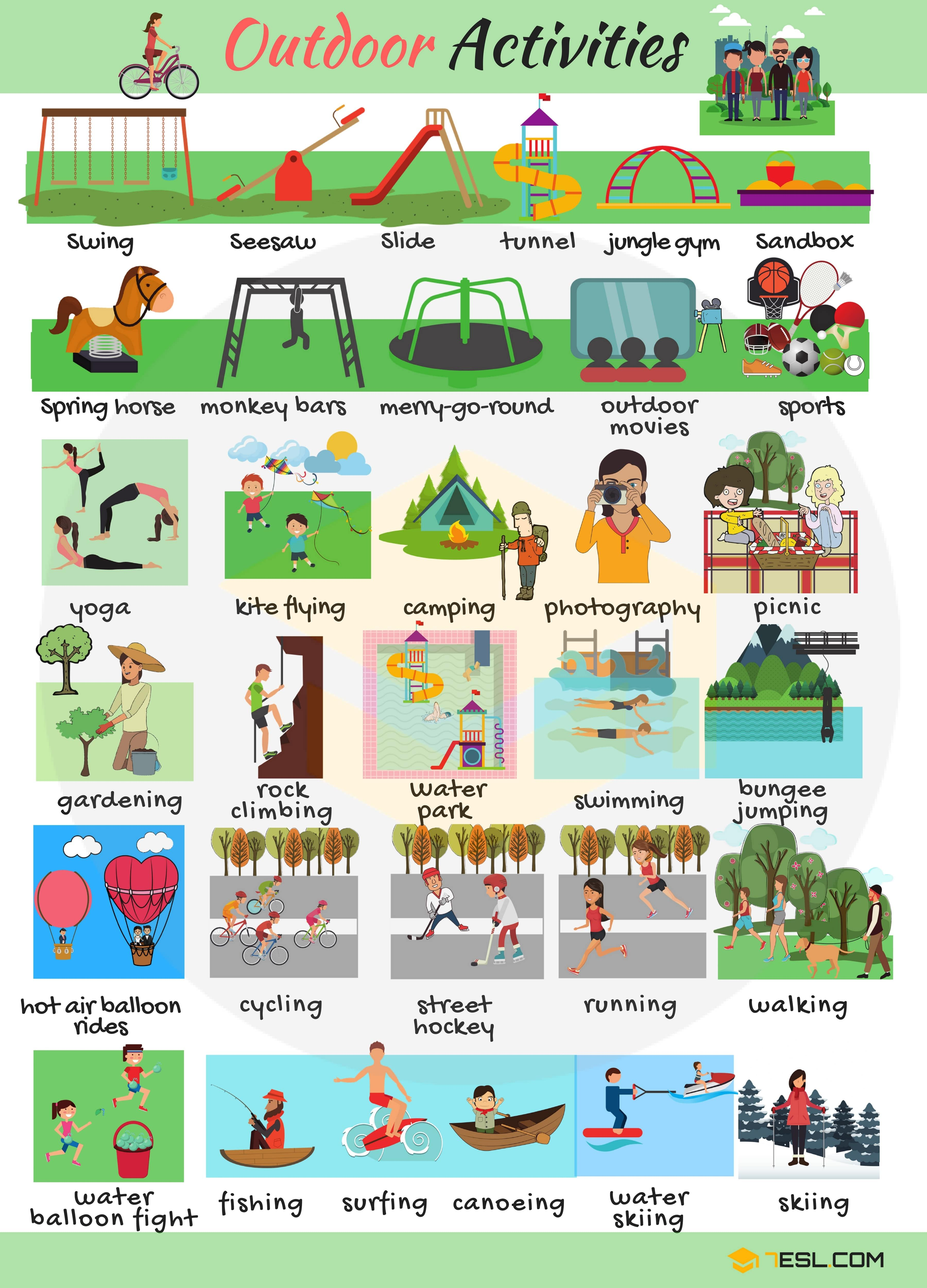 Outdoor Games And Activities Vocabulary In English