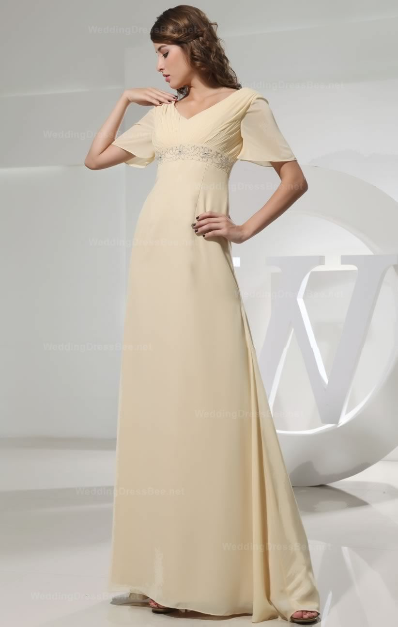 1c0a338ea93 Elegant short sleeves v-neck dress with ruched top and beaded belt