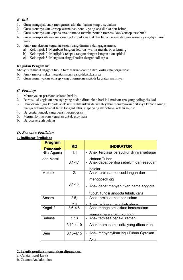 3 Rpph Paud Model Kelompok Kurikulum 2013 Kurikulum Guru Model