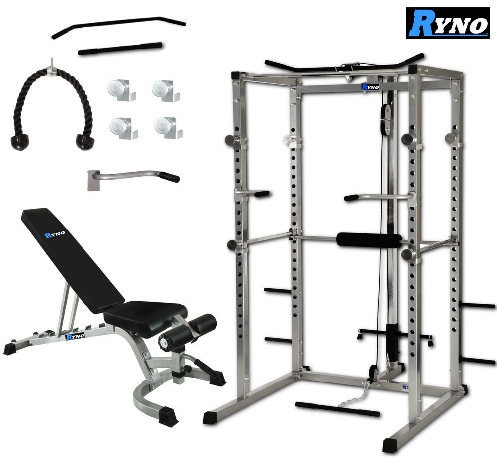 details about ryno power rack squat cage weight bench. Black Bedroom Furniture Sets. Home Design Ideas