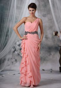 Beaded and Ruched One Shoulder Light Pink Chiffon 2013 Prom Evening Dress