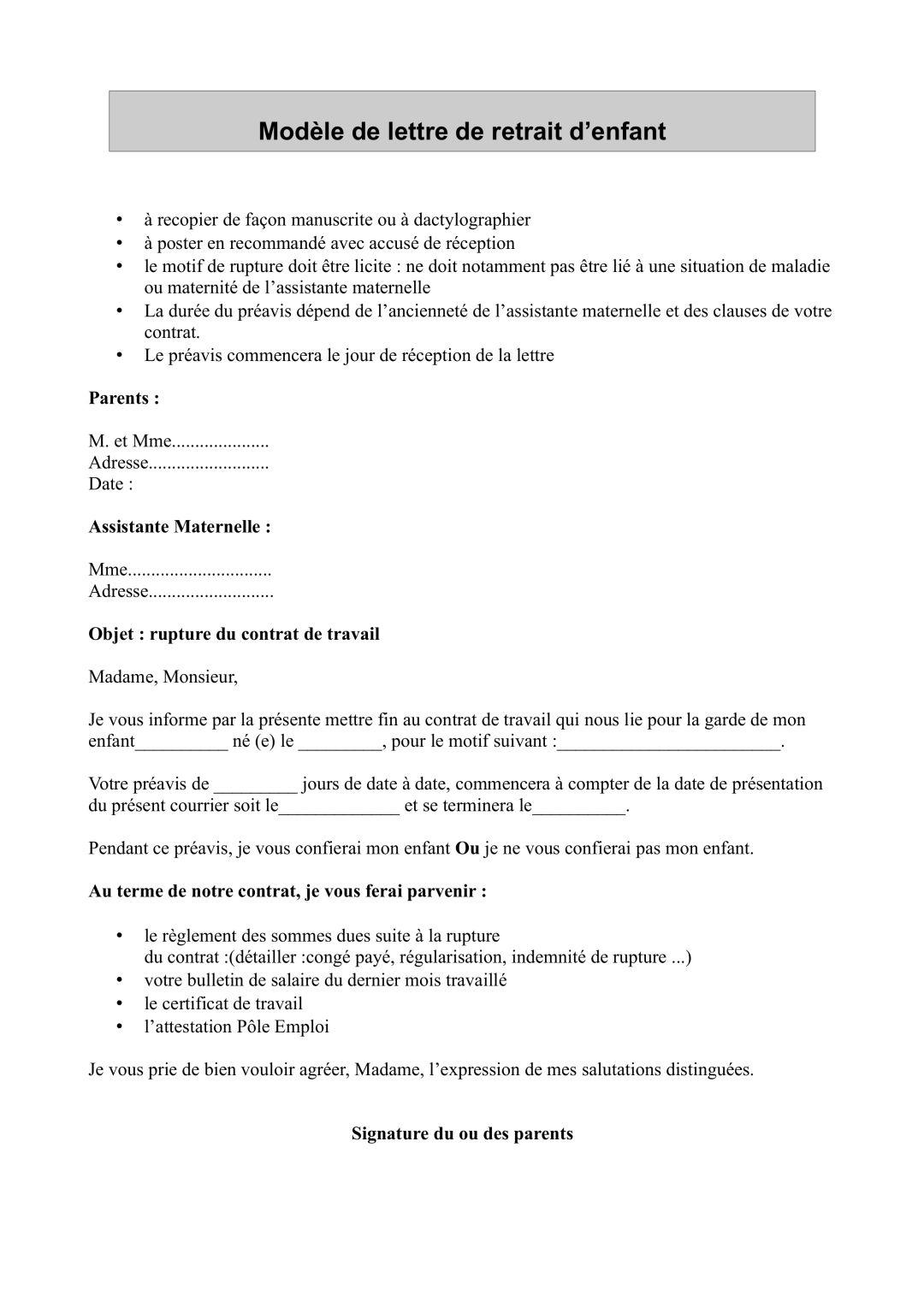 modele de lettre rupture contrat nounou Documents à télécharger pour les Ass Mat et Parents  modele de lettre rupture contrat nounou
