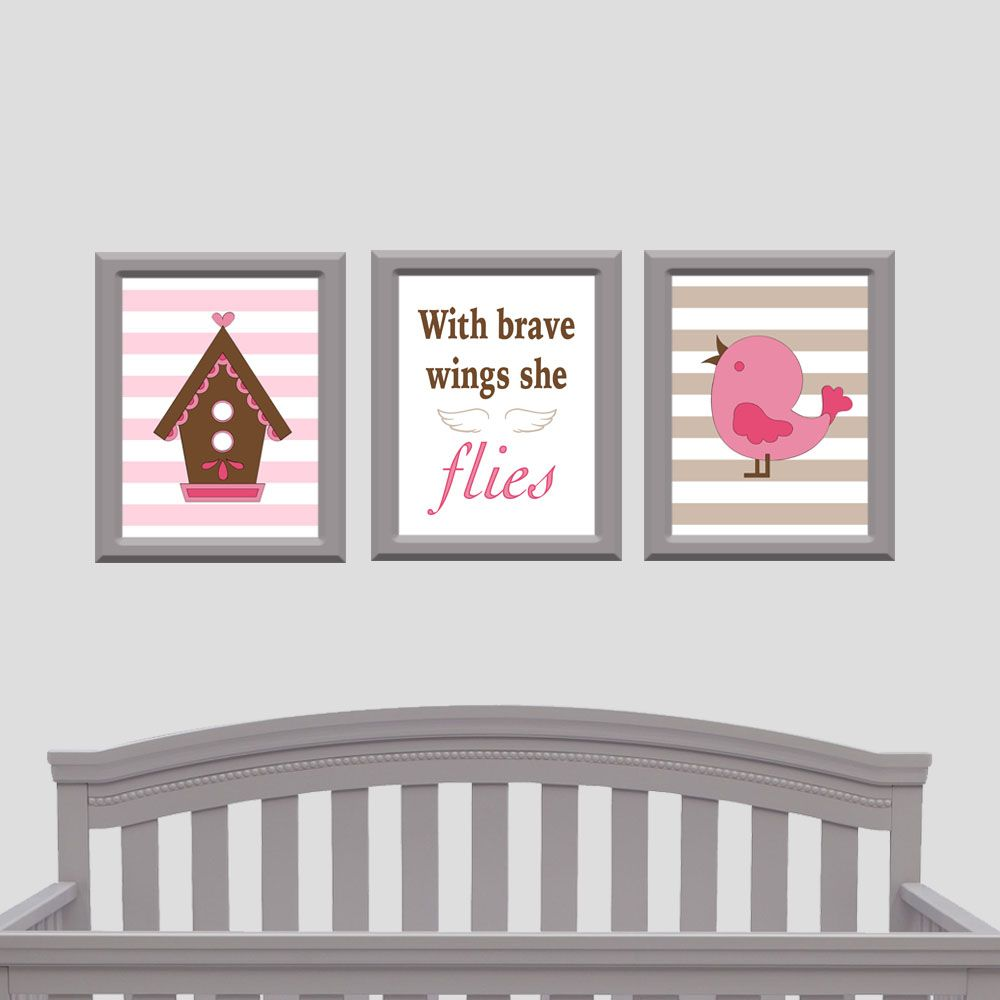 With Brave Wings She Flies Bird Nursery Decor Pink Design By