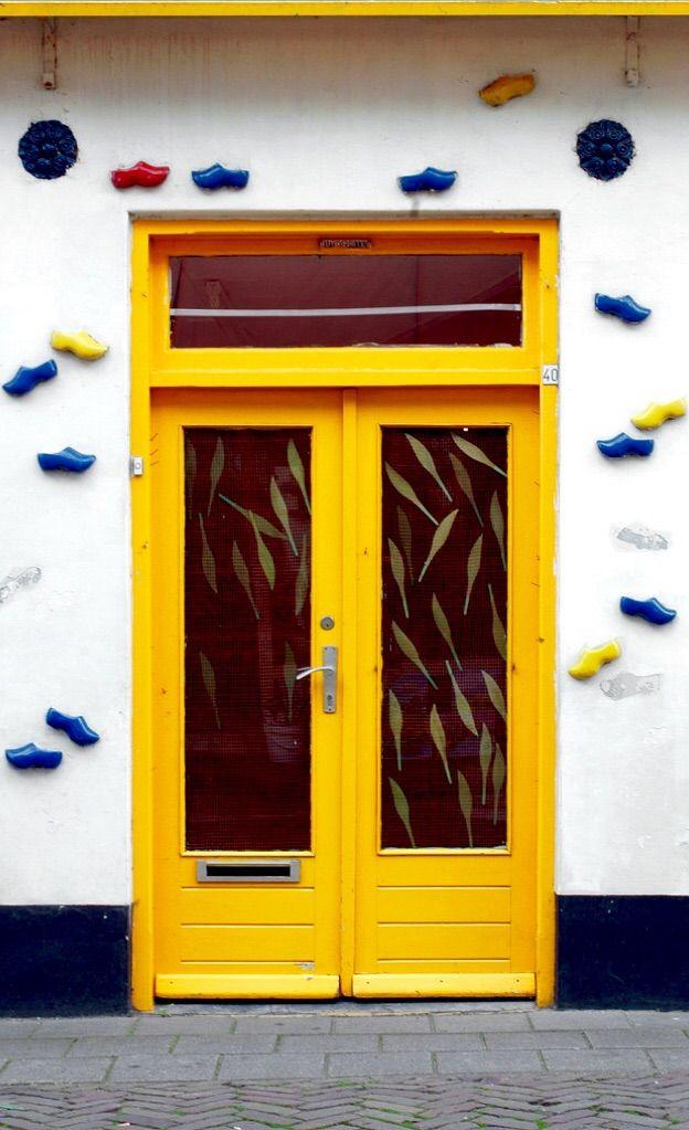 Volendam, Netherlands wooden shoe door yellow