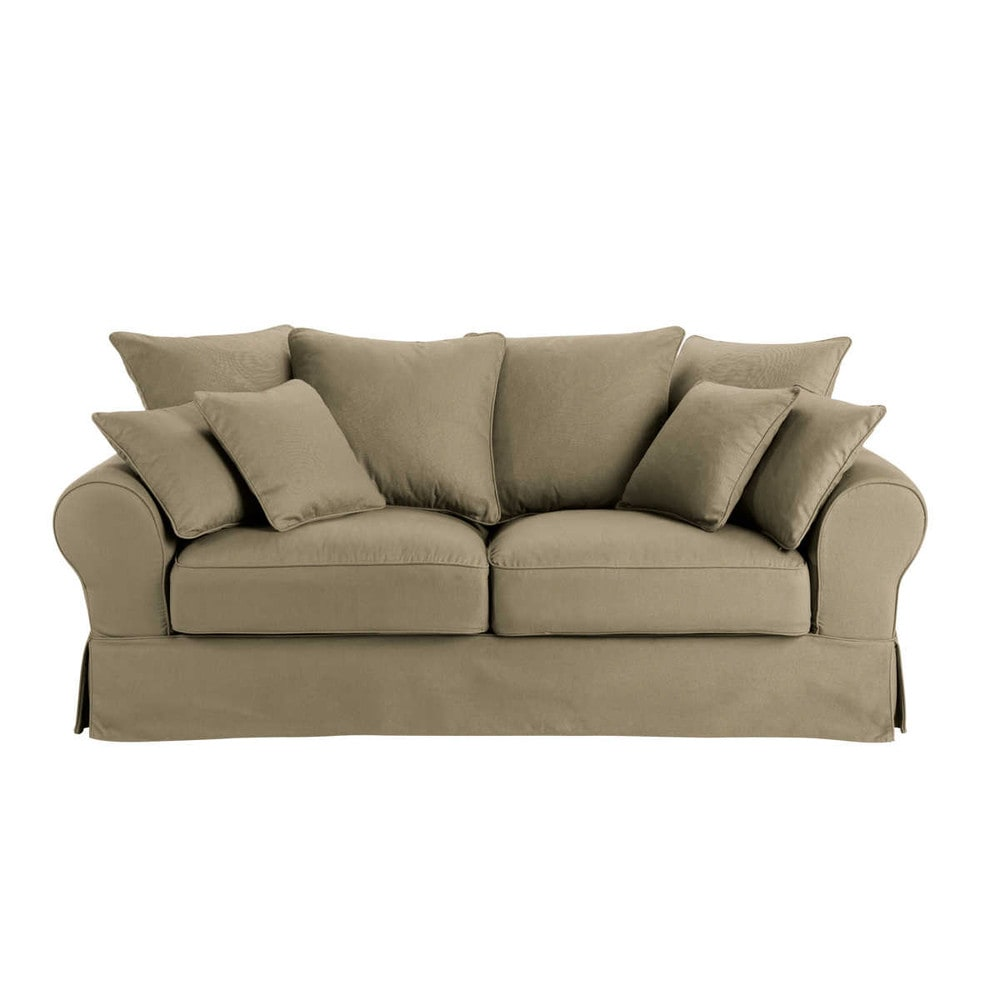 Canape 3 Places En Coton Taupe Sofa Traditional Living Room