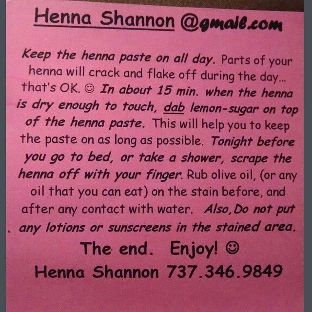 Henna Tattoo Care: Henna Aftercare Instructions.
