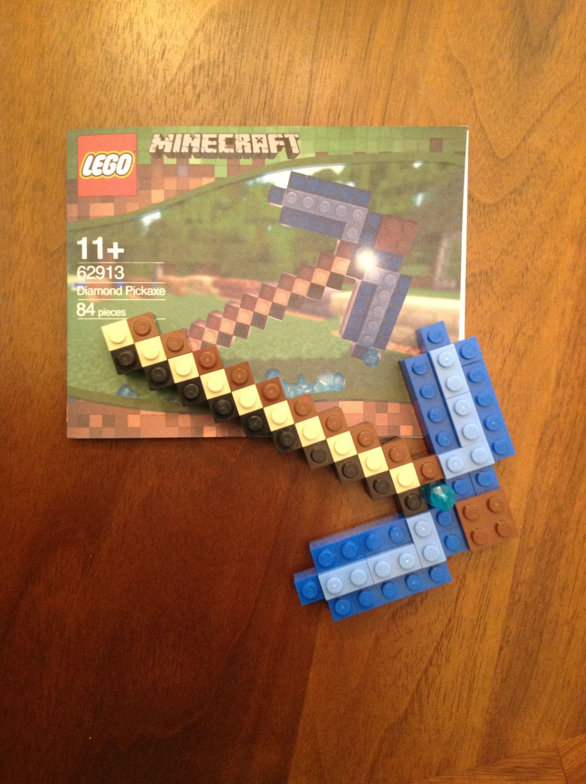 Custom Designed Minecraft Diamond Pickaxe Lego Mini Build For Party