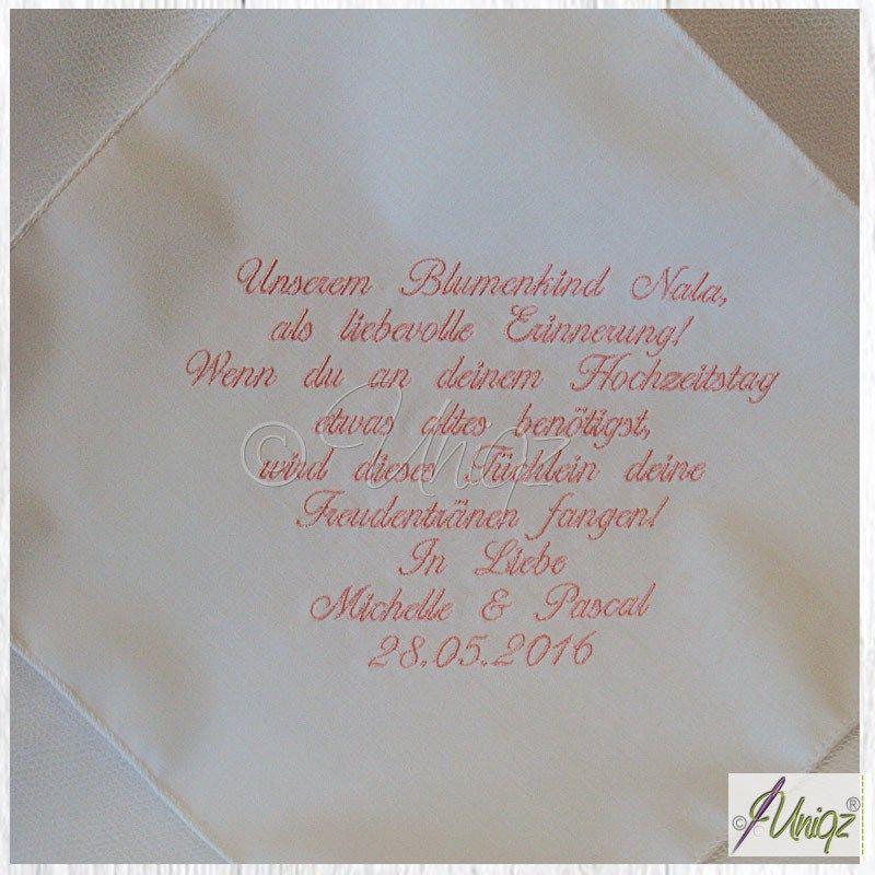 Hochzeit Besticktes Taschentuch Mit Eigenem Text Pinterest