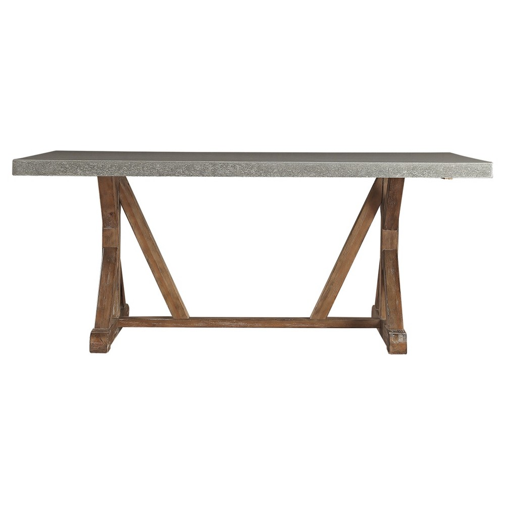 Camilla Farmhouse Concrete - Topped Trestle Dining Table - Vintage Pine -  Inspire Q