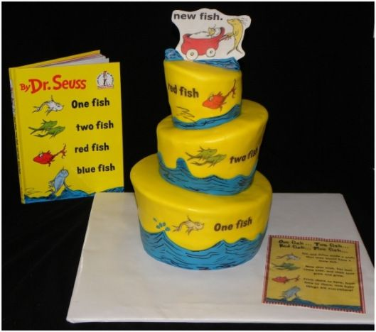 Happy Birthday Dr Seuss Red fish blue fish Red fish and Cake