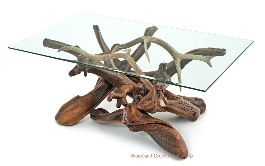 Log Coffee Table With Real Antler Accents Log Coffee Table Live
