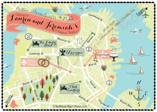 image relating to Printable Map of Boston called Tailor made Wedding ceremony MAP- Any Vacation spot Out there- Boston, MA Map