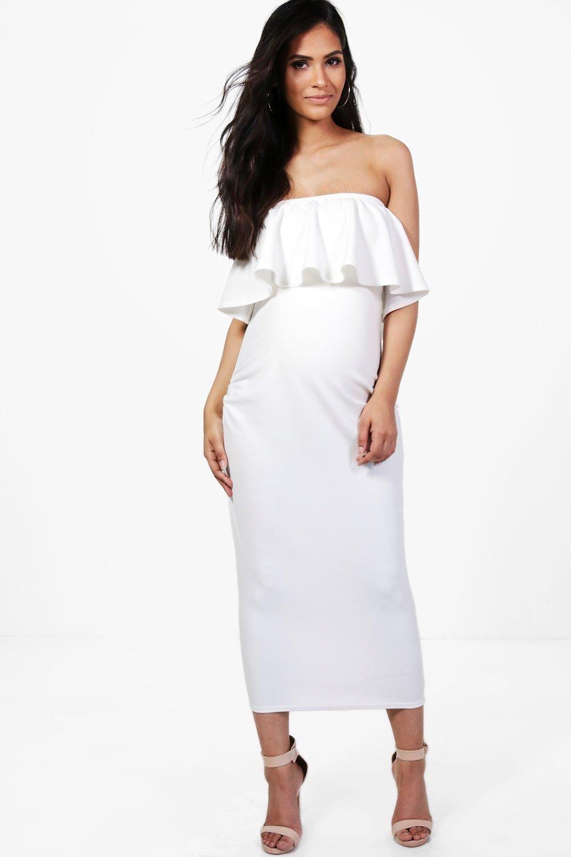 c0f1019938bb Maternity Beatrice Bandeau Ruffle Midi Dress | Pregnant fashion ...