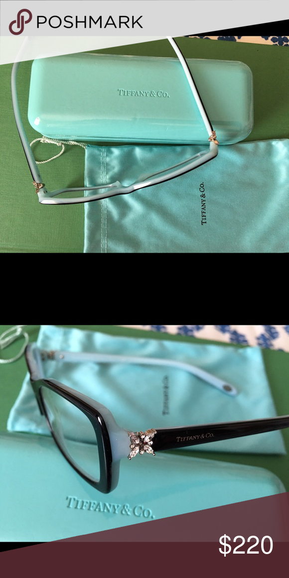 2bdba315dcac Tiffany reading glasses frame Tiffany Victoria crystal original rectangular  eyeglasses in mint condition. Very beautiful floral crystal embellishment  at the ...