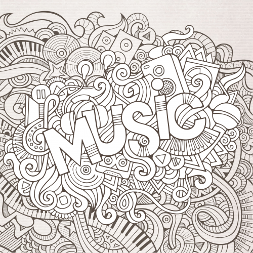 Premium Coloring Pages For Download Music Coloring Coloring Pages Black And White Doodle