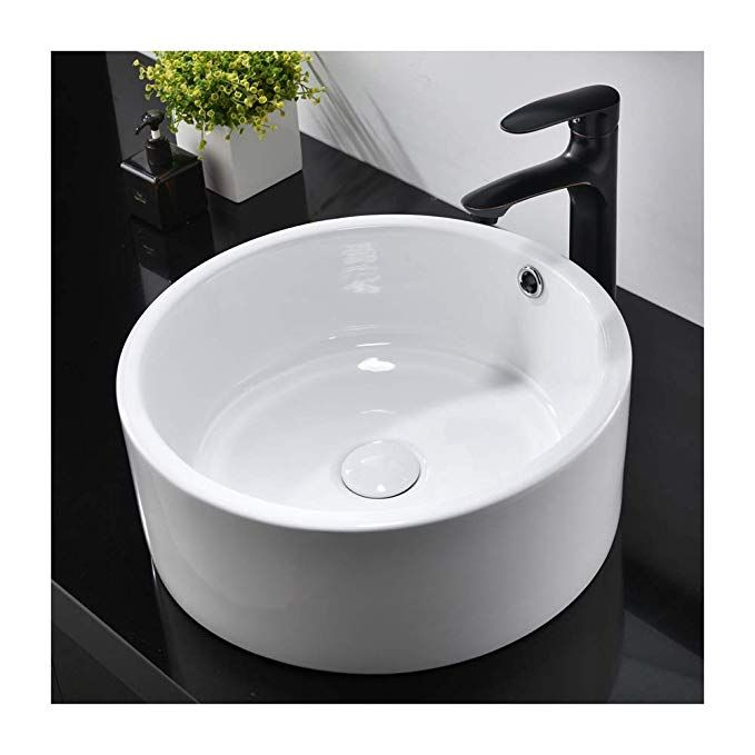 Hotis White Porcelain Ceramic Countertop Bowl Lavatory Round Above