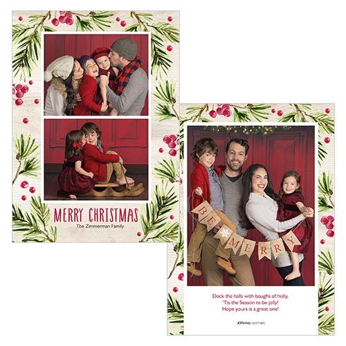 Holly is a 5x7 double sided card. Visit our website for more holiday card options! | JCPenney Portraits
