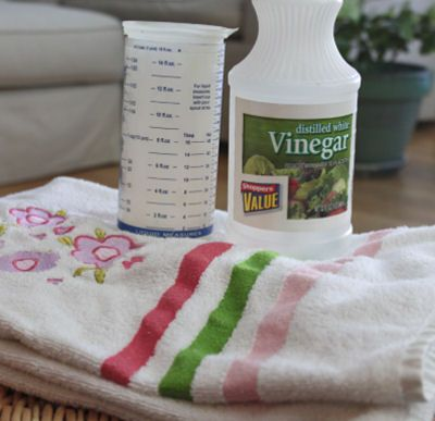 Vinegar helps to take the mildew smell out of towels.   More household tips  http://thegardeningcook.com/best-household-tips/