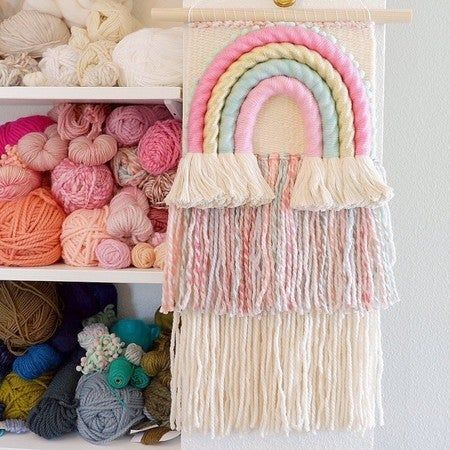 This large rainbow and a couple other wall hangings are still available and ready to ship on my Etsy shop today! 🌈 . . . . #modernmacrame #handmadehome #bohodecor #weaving #shopetsy #myunicornlife #woventextiles #abmcrafty #weaverfever #etsy #mybeautifulmess #etsystore #nurserydecor #psimadethis #etsyartist #etsy #ihavethisthingwithcolor #wovenwallhanging #tapestry #modernweaving #wovenwallart