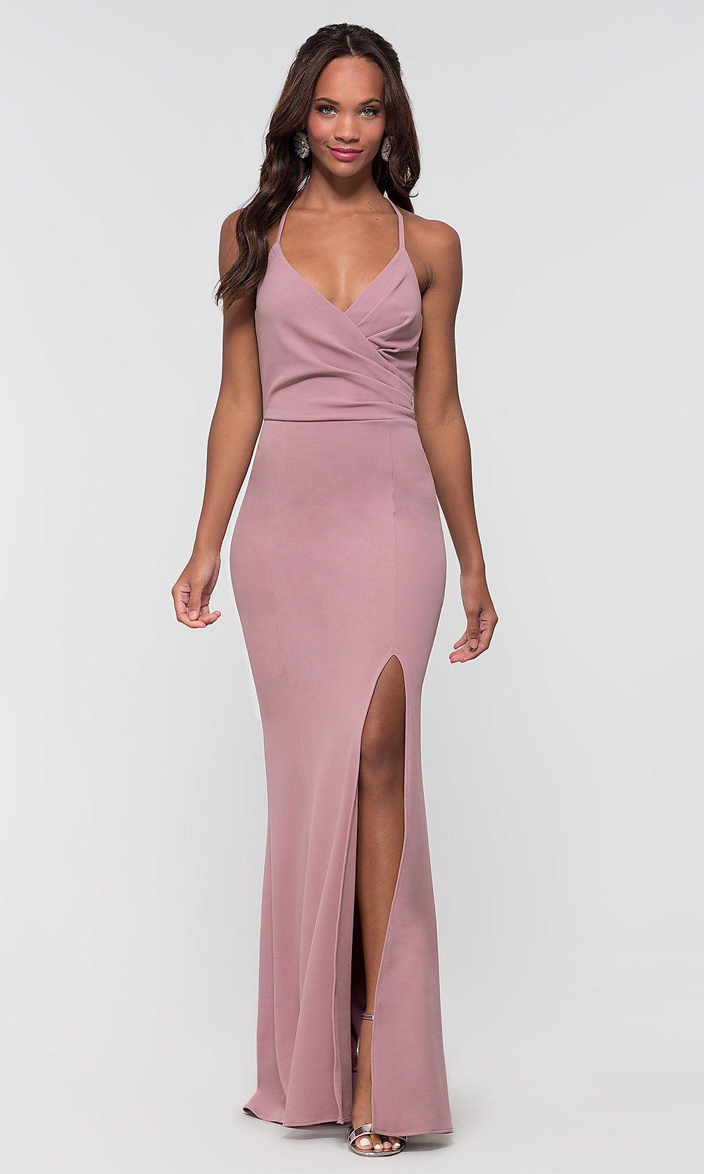 Open Back Long Wedding Guest Dress In Mauve Pink [ 1666 x 1000 Pixel ]