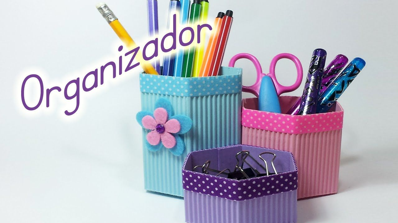 Manualidades organizador de escritorio portalapices - Organizador de papeles ...