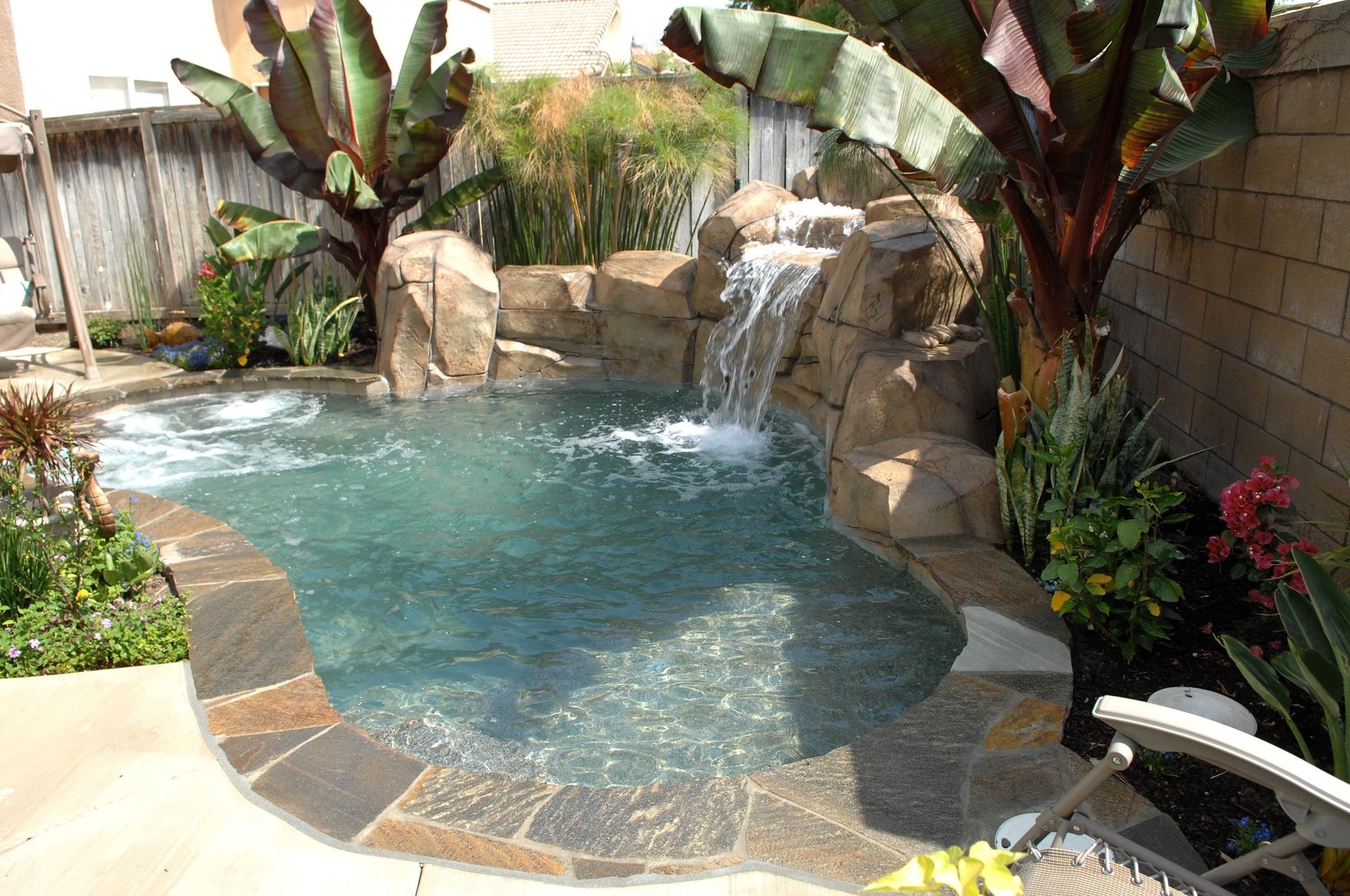 Spa Rock Waterfall Chino Pools Backyard Inground Swimming Pools Backyard Garden Pool Design