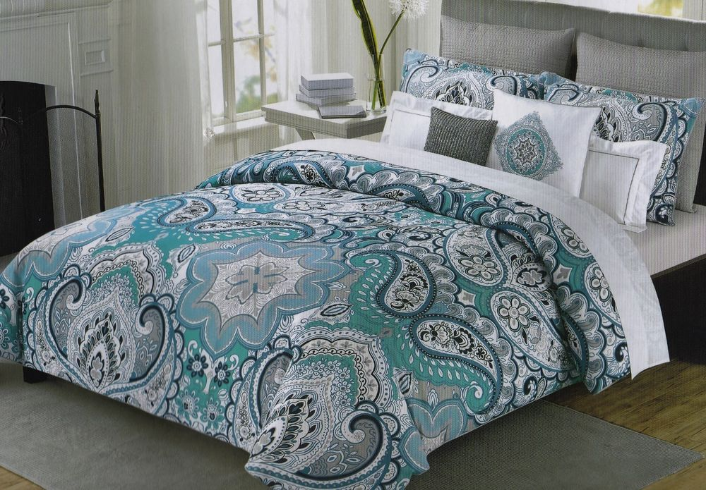 Cynthia Rowley Queen Paisley Floral Teal Navy Blue Gray White 6 Pc Comforter Set Cynthia Rowley Bedding Comforter Sets Teal Bedding