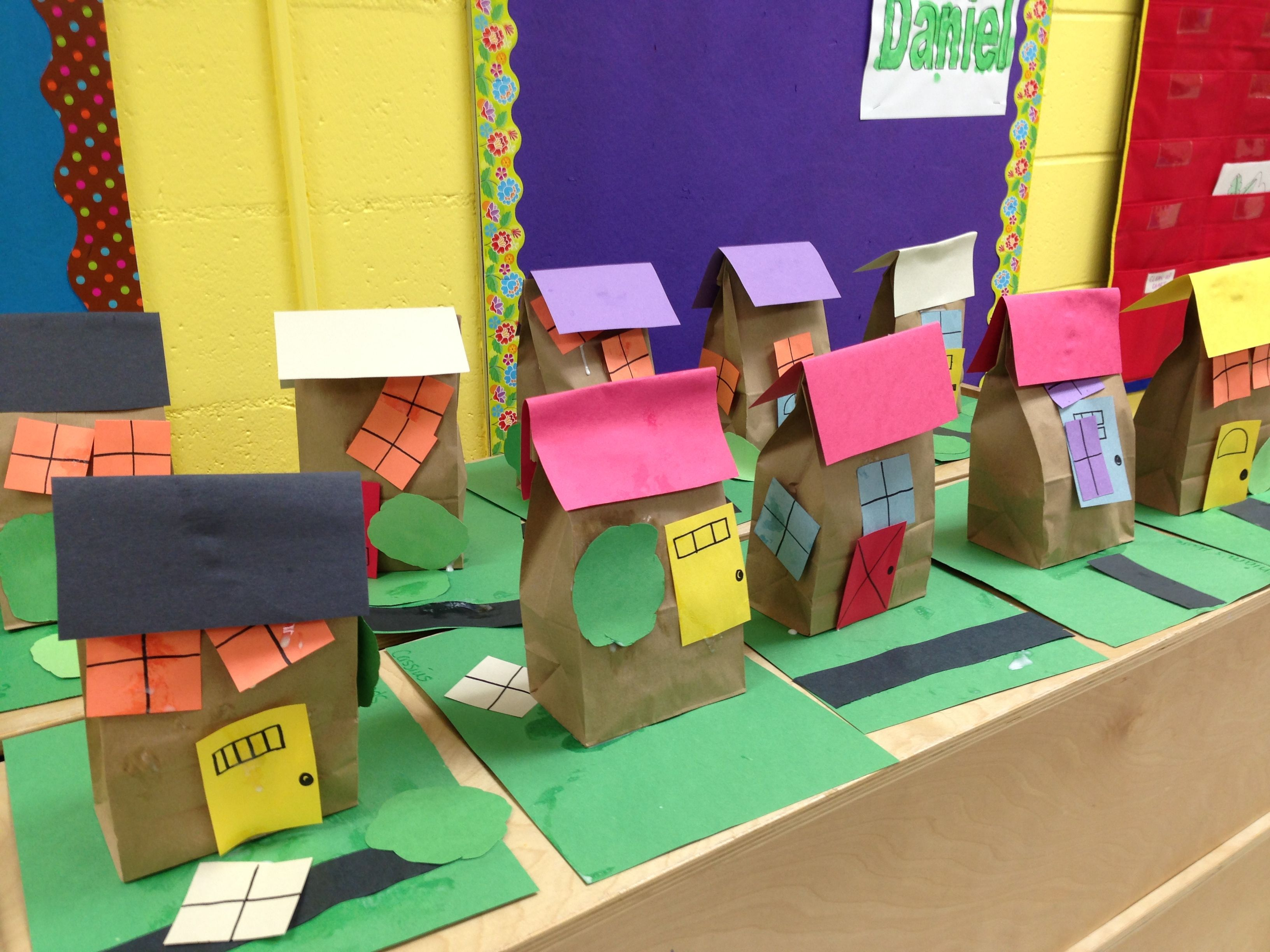 We Made Paper Bag Houses In Class Each Student Decorated