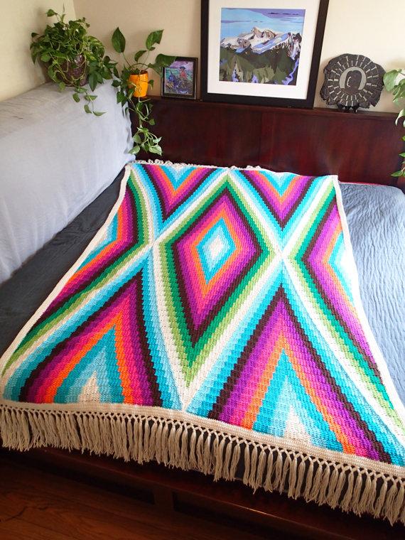 Modern Bohemian Blanket Crochet Pattern PDF, Single or Twin Bed Size ...
