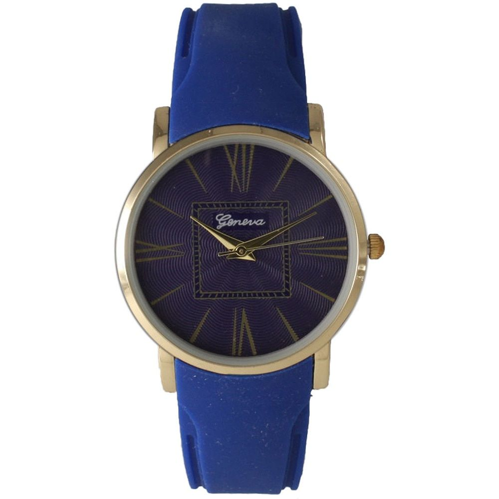 Olivia Pratt Women's Silicone Band/Stainless Steel Case Textured Face Roman Numeral Watch