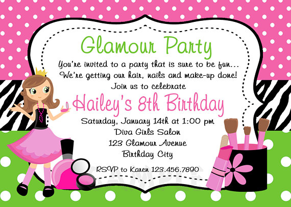 Glamour Girl Birthday Spa Invitation Glamour Girl Birthday