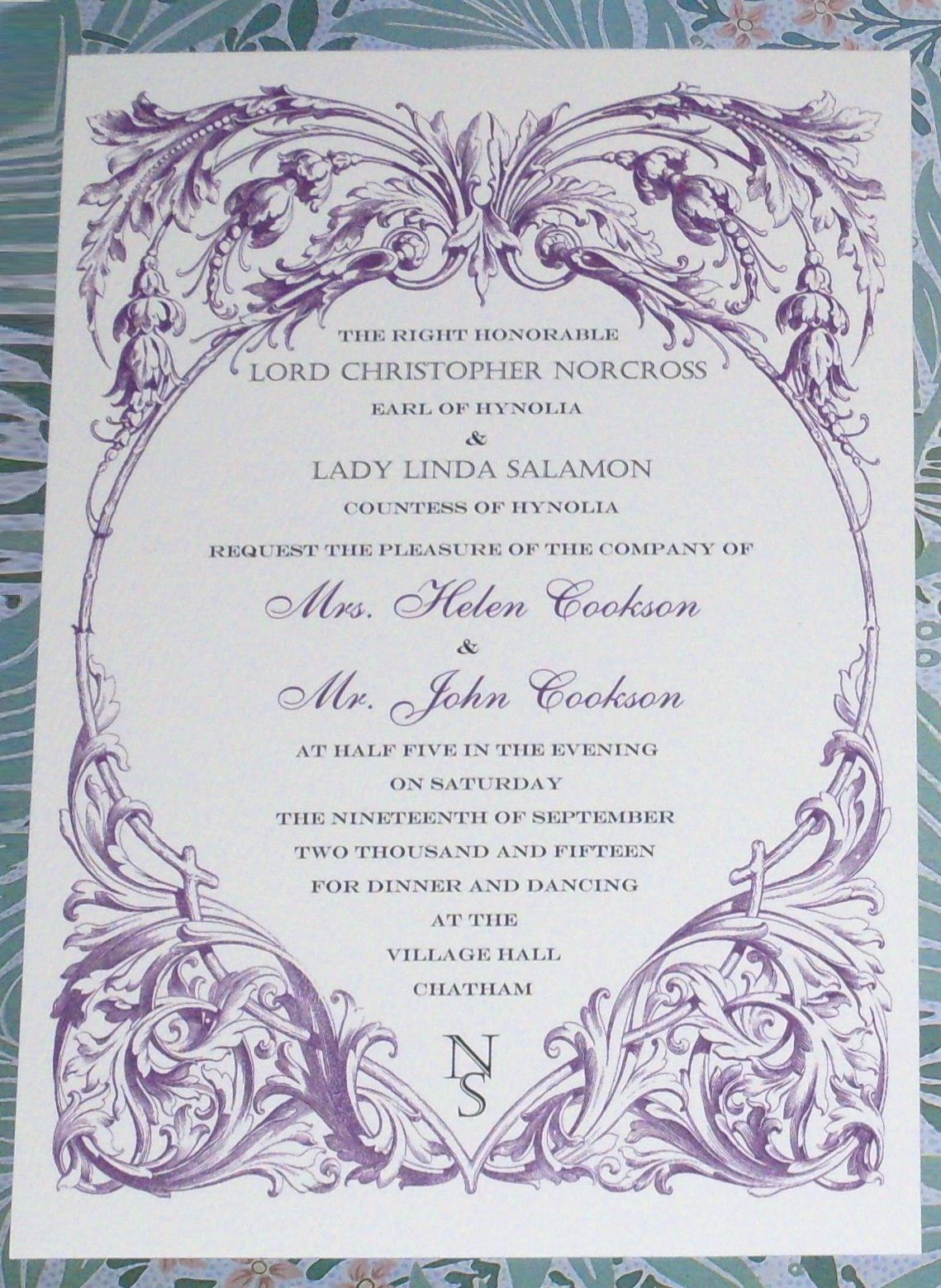 Downton Abbey Edwardian Dinner Party Or Wedding Invitation From