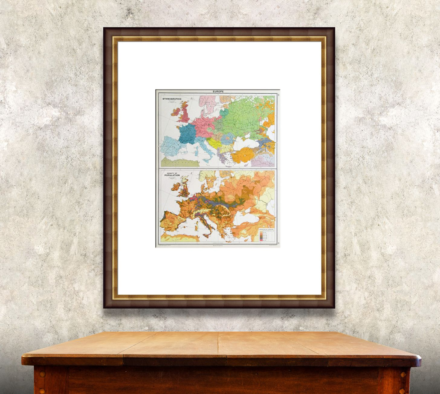 A Antique Map Of European Demographics Is Striking In A Neutral - Frames for old maps