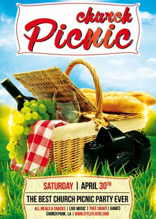 Church Picnic Psd Flyer Template  Graphic    Church