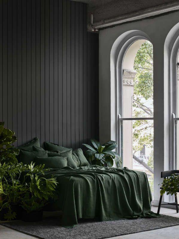 Linen Duvet, Green Bedding, Duvet