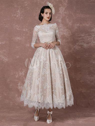 Spitze Farbiges Brautkleid 2018 Kurz Vintage Hochzeitskleid Champagner halblange…
