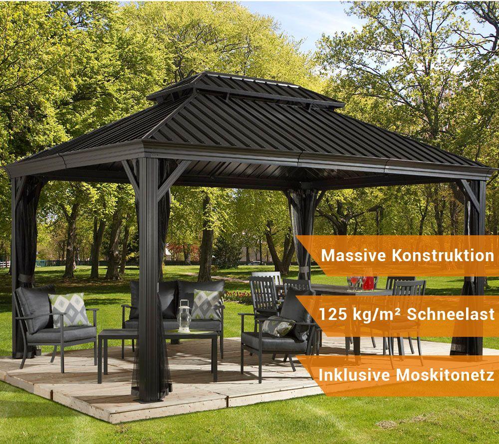 sojag aluminium pavillon gazebo messina 12x16 inkl moskitonetz 363x483 cm garten ideen. Black Bedroom Furniture Sets. Home Design Ideas