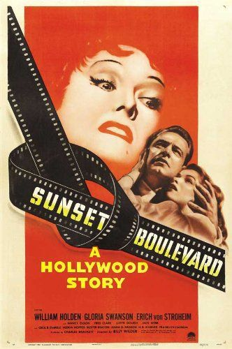 Sunset Boulevard (1950). A hack screenwriter writes a screenplay for a former silent-film star who has faded into Hollywood obscurity.