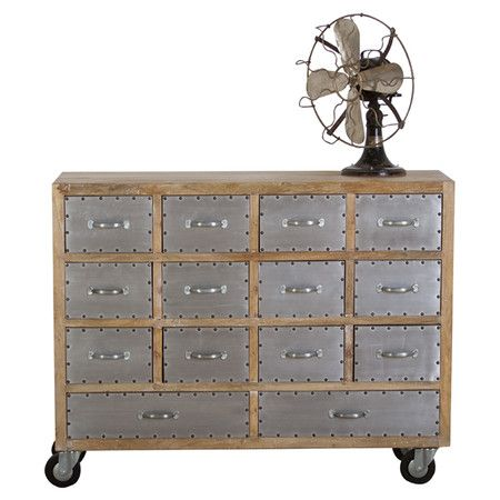 Fourteen Drawer Wood And Metal Dresser With Rivet Detail And